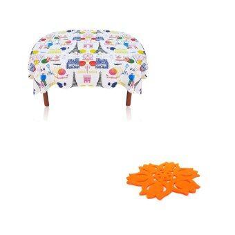 Replica Shop ผ้าปูโต๊ะอาหาร ลาย นครปารีส + Replica Shop แผ่นรองแก้วผ้าสักราด ลายทิวลิป 12 ชิ้น/แพ็ค (สีส้ม)