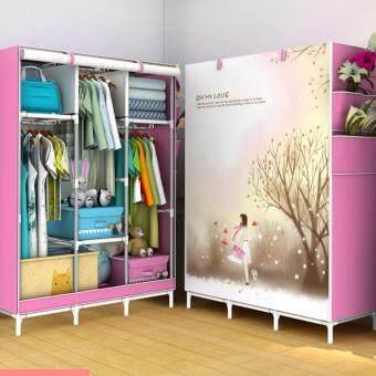 DIY ตู้เสื้อผ้า 3ช่อง(ผ้าคลุมกันน้ำกันฝุ่น)แขวนเสื้อผ้าได้ทั้ง 3 ช่อง