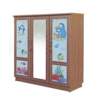RF Furniture ตู้เสื้อผ้าเด็ก 120 cm 3ประตูกระจกกลาง รุ่น WR120MG ( สีสักลายการ์ตูนน่ารัก )