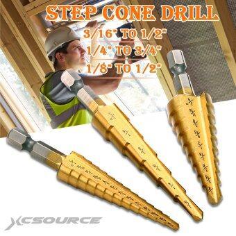 เปรียบเทียบราคา XCSource ดอกสว่าน ดอกเจดีย์ (3 ชิ้น) Large HSS Steel Step Cone Drill Titanium Bit Set Hole 3-12/4-12/4-20mm รีวิว
