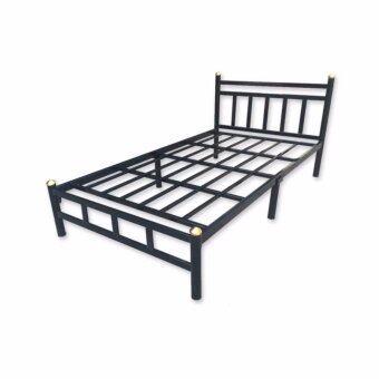 Asia เตียงเหล็กอย่างหนา 3.5ฟุต รุ่นหัวเหลี่ยม สีดำ