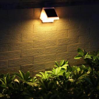 โคมไฟผนัง พลังเเสงอาทิตย์ 4 LED (เเสง : เหลืองวอมไวท์)
