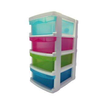 Thai Style ตู้ลิ้นชักพลาสติก 4 ชั้น วางบนโต๊ะ