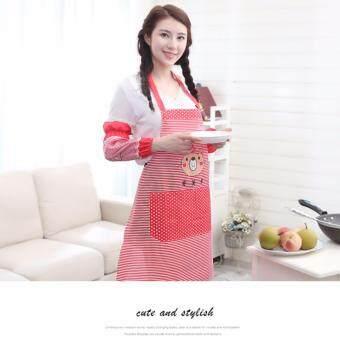 CHANEE ชุดผ้ากันเปื้อน+ปลอกแขนกันกระเด็นจากเกาหลี สีแดง