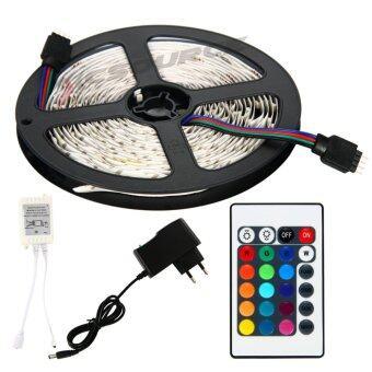ไฟเส้น ไฟแถบ 5m 3528 RGB 60/M LED Strap Lights + 12V 2A Power supply + รีโมทคอนโทรล 24key IR EU Plug