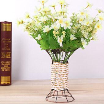 Gracefulvara 1 ช่อ 21 คิดประดิษฐ์ดอกกุหลาบกระดาษผ้าจัดดอกไม้แต่งบ้านการตกแต่ง-ขาว