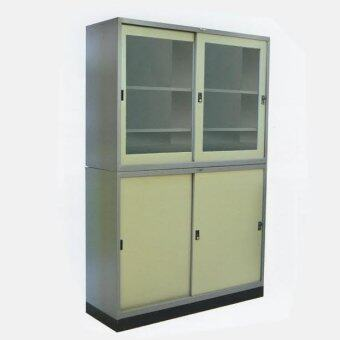 RF Furniture ตู้เอกสารเหล็กบานเลื่อน2ชั้นบน+ล่าง ขนาด90ซม.รุ่น RF-3 (สีเทา/ครีม)