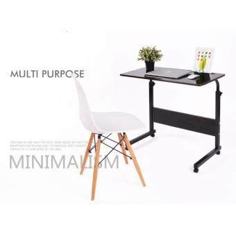 โต๊ะวางโน๊ตบุค 60 CM. มีล้อ รุ่นปรับระดับได้ สีโอ๊ค