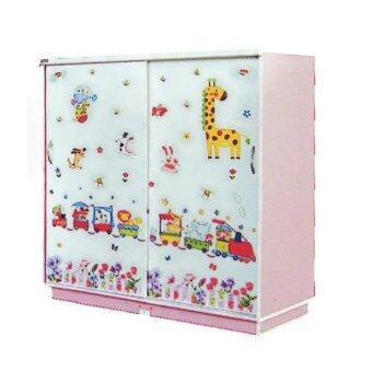 RF Furniture ตู้เสื้อผ้าเด็ก 120 cm บานเลื่อน รุ่น WR120SL ( สีชมพู่ลายการ์ตูนน่ารัก )