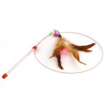 ของเล่นไม้ขนนกสำหรับแมว อุปกรณ์สำหรับสัตว์เลี้ยง 1 ชิ้น