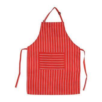 นิวแฟชั่นร้านอาหารครัวสวมผ้ากันเปื้อนเสื้อกระเป๋า (#1 สีแดงริ้ว)