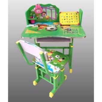 Asia ชุดโต๊ะนักเรียน+เก้าอี้ ปรับระดับได้ ลายการ์ตูน สีเขียว