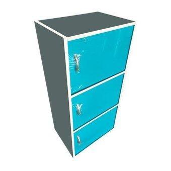 Asia ตู้อเนกประสงค3ชั้น มีบานประตู (สีฟ้า)