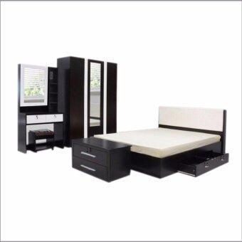 RF Furniture ชุดห้องนอน DD รุ่น Milano Set ขนาด 6 ฟุต เตียง 6 ฟุต + ตู้เสื้อผ้า 3 บาน + โต๊ะแป้ง 80 cm ( สีโอ๊ค / ขาว )