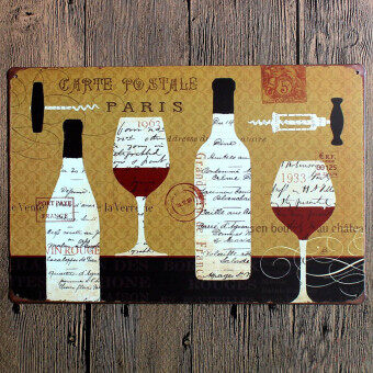 Harga 30x20cm Wine Beer Bottle Metal Sign Tin Poster Pub Bar Cafe Shop Home Wall Decor - Intl