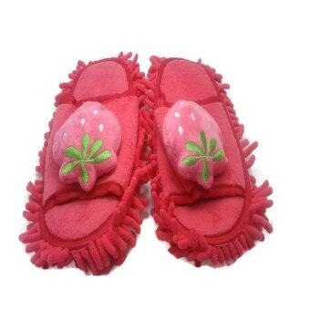 Fairylandmall รองเท้าถูพื้น Microfiberใส่ในบ้านออฟฟิศรูปสตอเบอรี่ (สีชมพู)