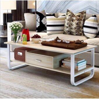 Asia โต๊ะกลางโซฟา โต๊ะกาแฟ ขนาด 1 เมตร รุ่นมีลิ้นชัก โครงเหล็กขาว สี Light Maple