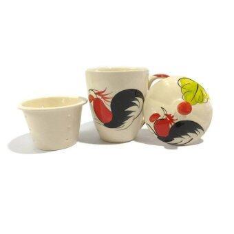 DDD แก้วน้ำเซรามิกพร้อมฝาปิด มีหูจับ กรองน้ำชา ตราไก่ คลาสสิค