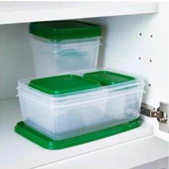 CKชุด 17 ชิ้น กล่องพลาสติกใส่อาหาร เก็บได้ทั้งร้อนเย็น สำหรับใส่อาหารกลางวัน สามารถนำเข้าตู้เย็นใส่ในช่องแช่แข็ง และนำเข้าไมโครเวฟ สีเขียว
