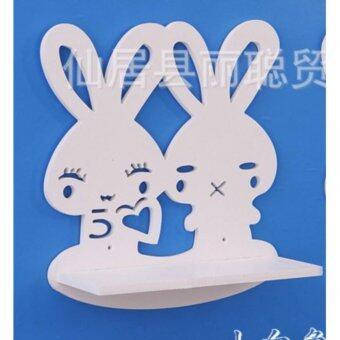 ชั้นวางของติดผนัง ลายกระต่าย สีขาว