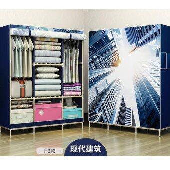 DIY ตู้เสื้อผ้า3บล้อก(120x45x160ซม)โครงไม้