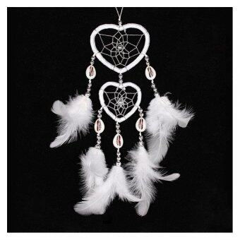 Harga Dreamcatcher Bicyclic Heart Wind Chimes Indian Style Feather Pendant Hanging Decoration Household Car Ornaments-White