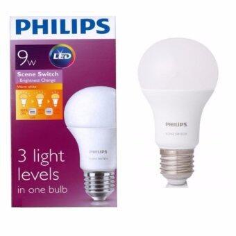 Philips หลอด LED Bulb Scene Switch Dim Tone 9W หลอดไฟหรี่แสงได้ 3 ระดับ สี Warmwhith