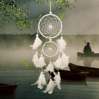 Harga leegoal Goose Feather 2 Rings Dream Catcher For Vehicle And Home Decor Jewelry (White) - intl