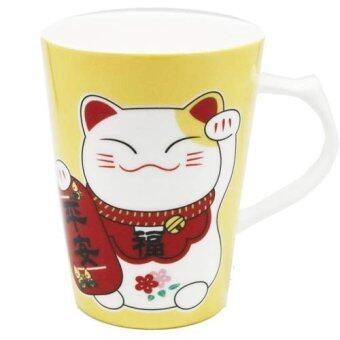 LEE TAI FU แก้วเซรามิคแมวมาเนะกิเนะโกะ (สีเหลือง)