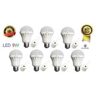 (ของแท้) HAGI หลอดไฟอัจฉริยะ / หลอดไฟฉุกเฉิน LED 9W แสงขาว / LED Emergency Bulb (E27) /(7 หลอด)