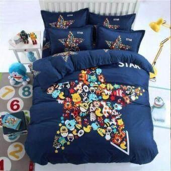 Sweet Kip ชุดผ้าปูที่นอน 6 ฟุต พร้อมผ้านวม 5 ชิ้น ลายดาวสีน้ำเงิน