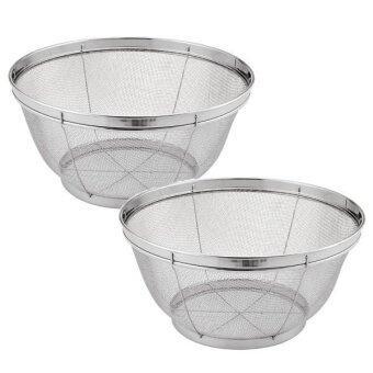 CCG 2 ใบ/ชุด 25 ซม. ตะกร้า / ตะกร้าสเตนเลส / ตะกร้าล้างผัก กลม (มุ้ง) – Silver