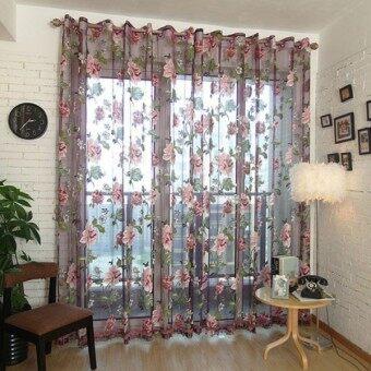 ไวน์แดงดอกไม้ม่านหน้าต่างผ้าโปร่งผ้าป่านผ้าม่านลูกปัดผ้าลายดอกไม้