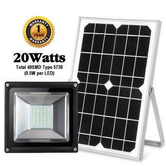 โคมไฟถนน ไฟรั้วใช้พลังงานแสงอาทิตย์ 20 วัตต์ SMD 40 ดวง (5730)