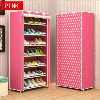 Shoes Rack ชั้นวางรองเท้า ตู้เก็บรองเท้า ตู้ใส่รองเท้า 7 ชั้น จำนวน 21 คู่ (สีชมพู/Pink)