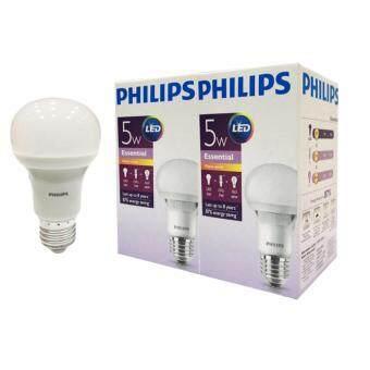 Philips หลอด Essential LED bulb 5 วัตต์ ขั้ว E27 ฟิลิปส์ แสงวอร์มไวท์ (2ดวง)