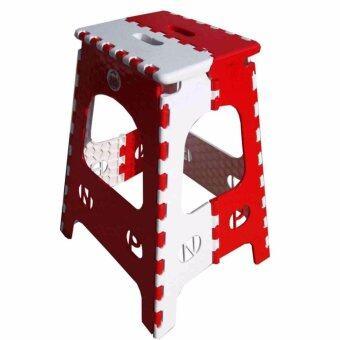 Grace Shop เก้าอี้โดบี้พับ รู่นใหญ่ ตัวสูง (สีขาว/แดง)