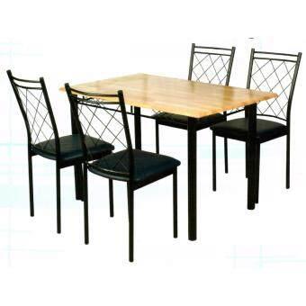 Asia ชุดโต๊ะกินข้าวไม้ยางพารา 4 ฟุต + เก้าอี้เบาะ 4 ตัว รุ่นจาไมก้า