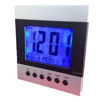 GooAB Shop นาฬิกาปลุกดิจิตอล แบบตั้งโต๊ะ หน้าจอ 4.5 นิ้ว (สีเงิน)