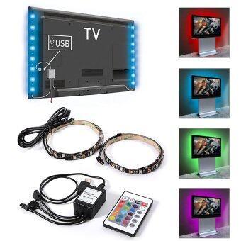 ไฟเส้น (2 เส้น) Multi-color RGB 50cm 5050 SMD LED พร้อมรีโมท 24Key (image 1)