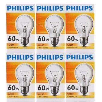 Philips แพ็คหลอดไส้ ทรงปิงปอง 60W E27 ใส x 6 หลอด