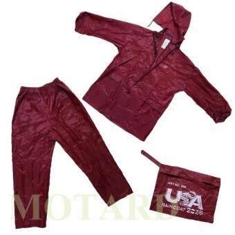 ชุดกันฝน เสื้อกันฝน มีแถบสะท้อนแสง เสื้อ+กางเกง+กระเป๋า (สีเเดง)