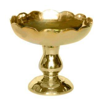 Thai Bronze พานทองเหลืองปากจีบเบอร์ 4 สีทองสำหรับใส่ดอกมะลิ พวงมาลัย ไหว้พระ