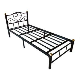 ISO เตียงเหล็กอย่างดี 3 ฟุต รุ่น LOTUS ขา2นิ้ว สีดำ