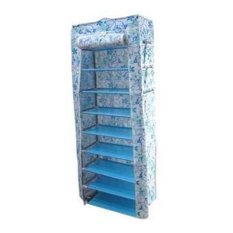 Replica Shop ตู้เก็บรองเท้า/เสื้อผ้า 10 ชั้น พร้อมผ้าคลุมลาย Blue Flower