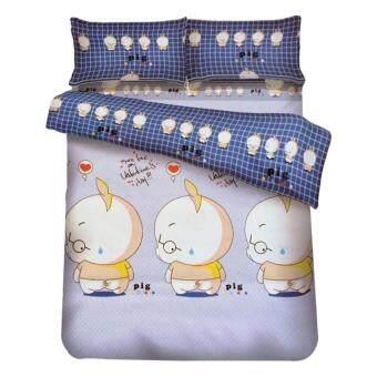 FD Premium ผ้าปูที่นอน ขนาด 6ฟุต 5 ชื้น รุ่น 6AA354 ลายการ์ตูนหมู (สี ฟ้า/เทา)