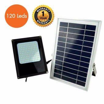 โคมไฟถนน ไฟรั้วใช้พลังงานแสงอาทิตย์ 8 วัตต์ LED 120 ดวง / แผงโซลาร์ 10 วัตต์