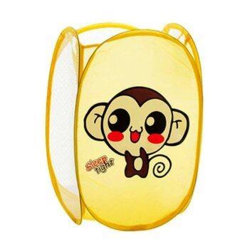 Triple3Shop ตระกร้าใส่ผ้า พับเก็บได้ ลายลิงสีเหลือง
