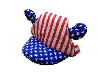 Dogacat หมวกสุนัข หมวกหมา หมวกแมว หมวกมีหู ลายสหรัฐ size 1 - สีแดงน้ำเงิน