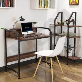 CASSA โต๊ะอเนกประสงค์ โต๊ะคอมพิวเตอร์ โต๊ะอ่านหนังสือ พร้อมราวกั้น ทั้ง2ด้าน ยาว104cm (สีดำ-ลายไม้เข้ม) รุ่น 233-B281-104X50X88BB